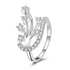 Modern Floral Orchid Spiral Ring