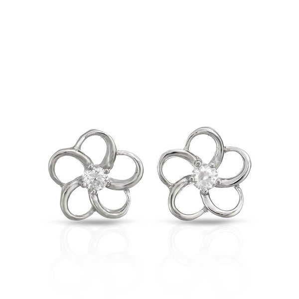 Mcs Jewelry Inc STERLING SILVER 925 FLOWER EARRINGS WITH CUBIC ZIRCONIA 11MM