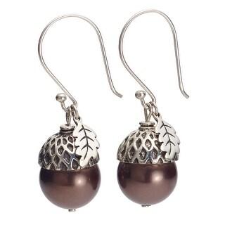 Women's Sterling Silver And Brown Pearl Acorn Dangle Earrings