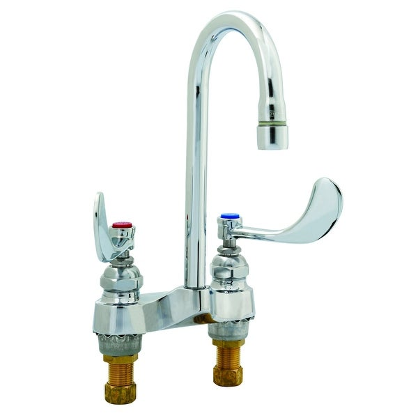 """T and S Brass B-0892-01 Deck Mounted Medical Faucet with Rigid Gooseneck, 2.2 GPM Aerator, 4"""" Wrist Action Handles and Eterna"""
