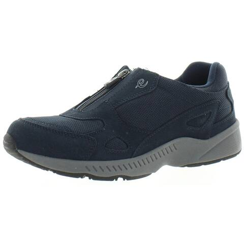 Easy Spirit Womens Rheal Slip-On Sneakers Leather Zip-Up - Dark Taupe - 9 Wide (C,D,W)