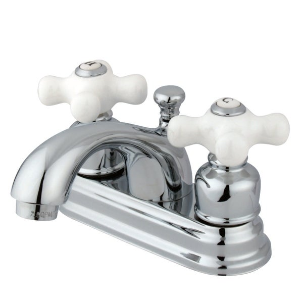 Kingston Brass KB260.PX 1.2 GPM Centerset Bathroom Faucet with Pop-Up Drain Assembly and Porcelain Cross Handles