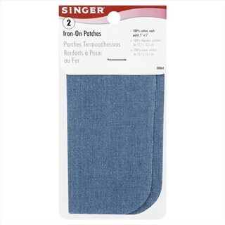 Singer 5 X 5 In. Iron-On Patches, Faded Blue, 2 Per Package