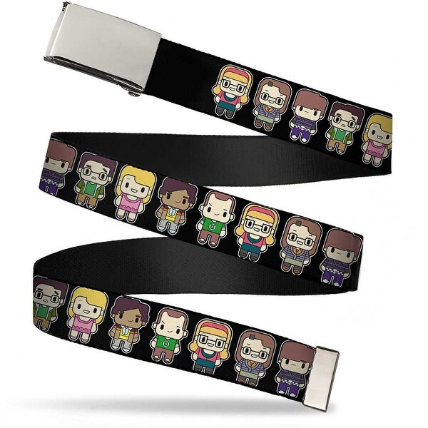 Blank Chrome Buckle Big Bang Theory Chibi Characters Black Webbing Web Belt