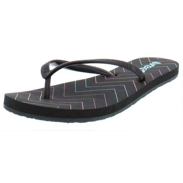 reef black glitter flip flops