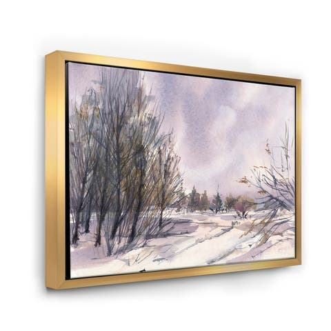 Designart 'Winter Landscape With Purple Snowy Tones' Traditional Framed Canvas Wall Art Print