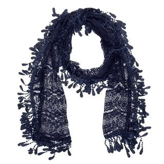"""Women's Sheer Lace Scarf With Fringe - Navy - 70"""" x 11"""""""