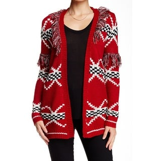 Woven Heart NEW Red Fringe Trim XS Juniors Open Cardigan Sweater