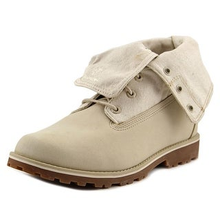 Timberland Auth Folddown Youth Round Toe Leather Ivory Winter Boot