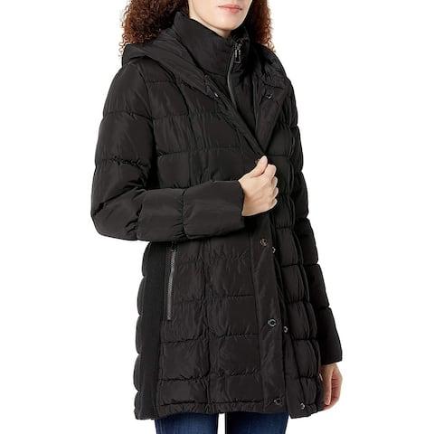 Calvin Klein Womens Coats Deep Black Size Medium M Water-Repellant