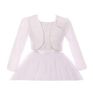 Kids Dream Little Girls White Rosette Accented Satin Long Sleeve Bolero