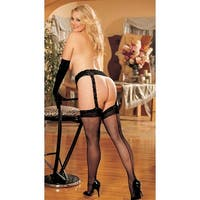 Plus Size Lace Garter Belt With Back Seam Stockings - Black - Queen