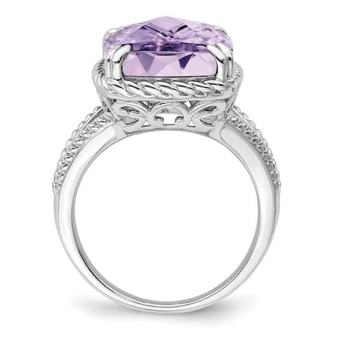 Sterling Silver Rhodium-plated Checker-cut Pink Quartz Ring by Versil