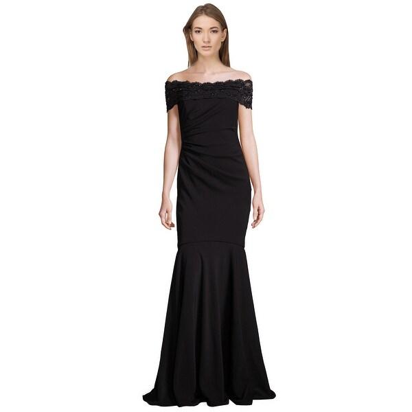 Shop Badgley Mischka Beaded Lace Off Shoulder Evening Gown Dress ...