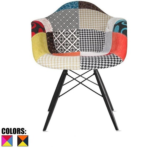 2xhome Modern Armchair With Arm Dining Chair Patchwork Fabric With Dark Black Wood Legs