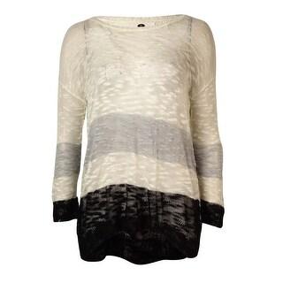 Kensie Women's Long-sleeve Colorblocked Sweater - cream combo