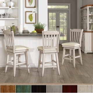 Eleanor Slat Back Wood Swivel Counter Stool by iNSPIRE Q Classic
