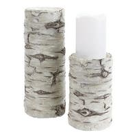 """Pack of 4 Antique Finish White Birch Look Pillar Candle Holders 10.75"""""""