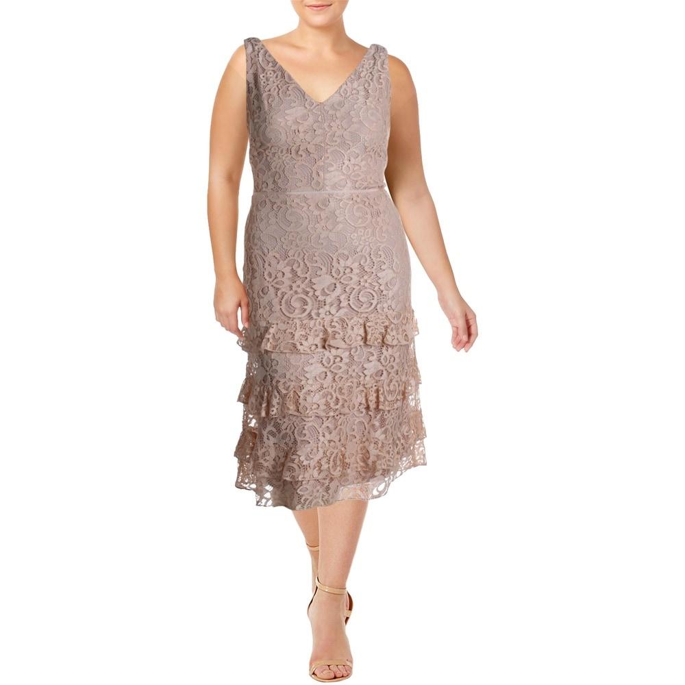 Lauren Ralph Lauren Womens Melrosa Cocktail Dress Lace Midi - Rose Dust