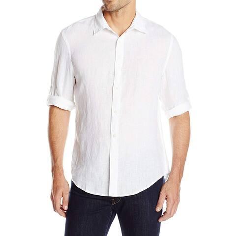 Perry Ellis Mens Dress Shirt White Size 2XL Roll Tab Linen Button Up