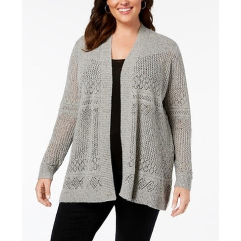 Belle Womens Sweater Gray Size 2X Plus Cardigan Open Front Knitted