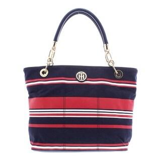 Tommy Hilfiger Womens Tote Handbag Canvas Striped - Large