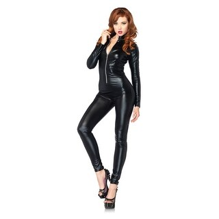 Sexy Womens Black Full Body Zipper Catsuit Costume