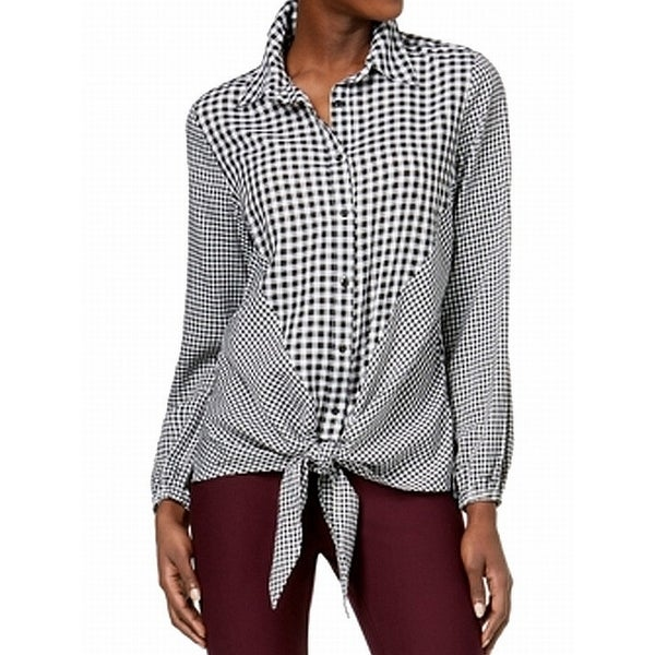 NY Collection Women's Small Gingham Tie Button Up Blouse