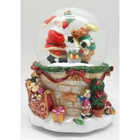 "6"" Santa and Reindeer Christmas Musical LED Lighted Snow Globe - RED"
