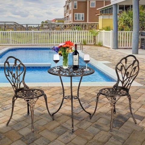 3-Piece Cast Aluminum Patio Bistro Set Outdoor Furniture Tulip Design Antique Copper Finish Rust-Resistant