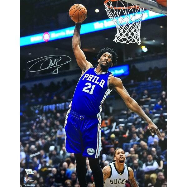 9ce190e853f Shop Joel Embiid Signed 16x20 Philadelphia 76ers Dunk Photo Fanatics ...