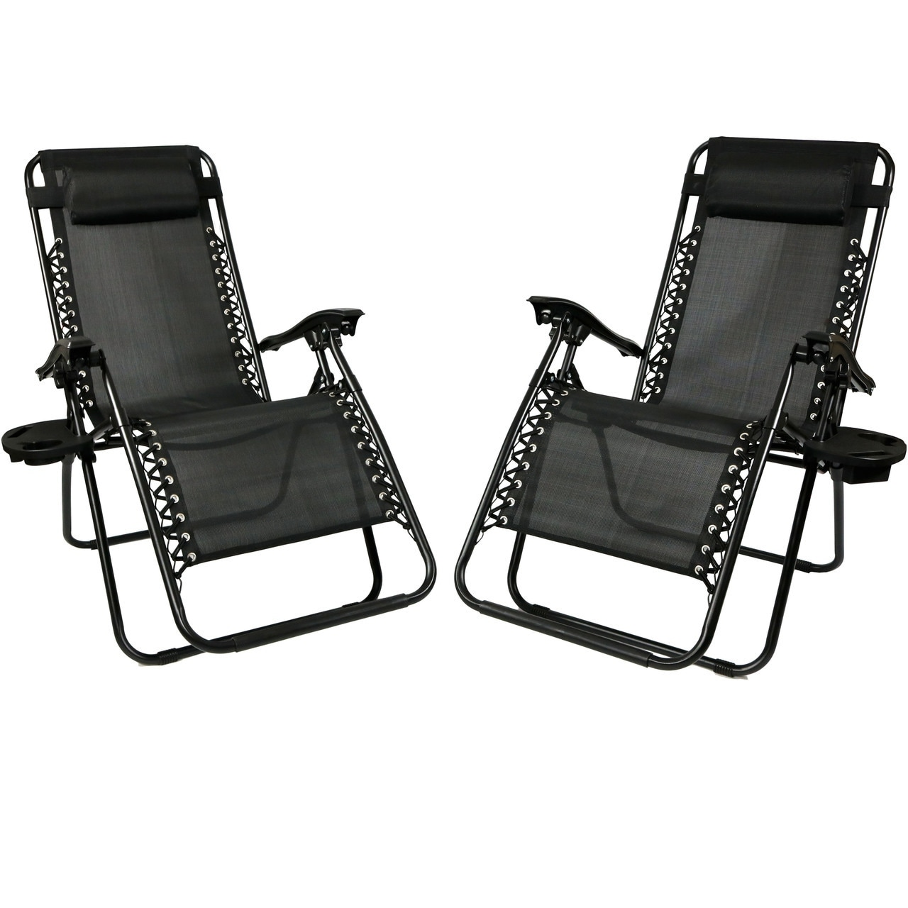 Sunnydaze Zero Gravity Lounge Chair with Pillow and Cup ...