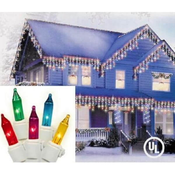 """Set of 300 Multi-Colored Mini Icicle Christmas Lights 3"""" Spacing - White Wire - multi"""