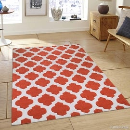 "AllStar Rugs Orange Hand Made Modern. Transitional. design Area Rug with Dimensional hand-carving highlights (4' 11"" x 6' 11"")"