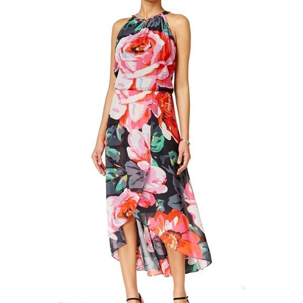 Shop Msk New Pink Black Women S Size 8 Floral Print High