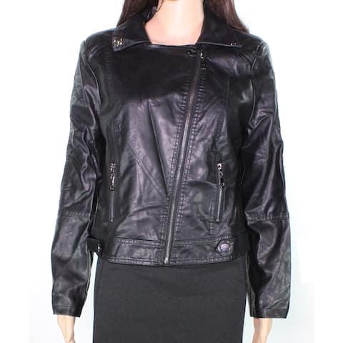 Jorlyen Women's Jacket Black Large L Faux Leather Motor Asymmetric Zip