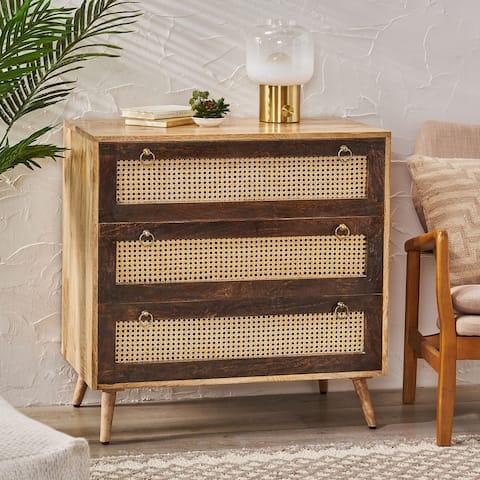 "McCone Boho 3-drawer Mango Wood Sideboard by Christopher Knight Home - 33.00"" L x 18.00"" W x 33.00"" H"