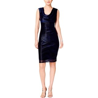 Connected Apparel Womens Cocktail Dress Metallic Cowl Neck