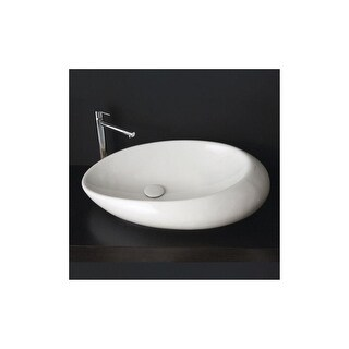 "Nameeks 8601  Scarabeo 28"" Ceramic Vessel Bathroom Sink - White / No Hole"