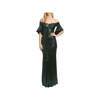 Badgley Mischka Womens Evening Dress Off-The-Shoulder Full-Length