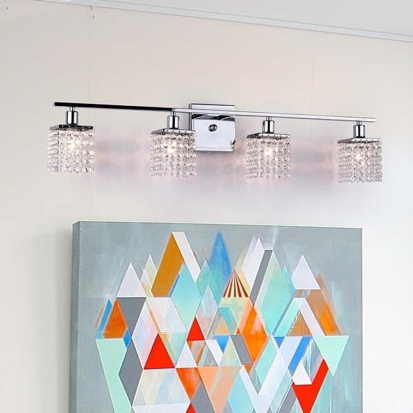 Four-light Chrome/ Crystal Wall Sconce. Opens flyout.