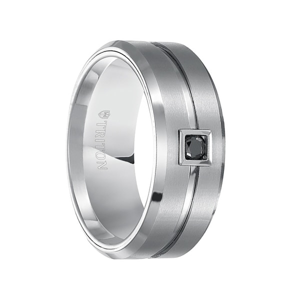 SHERMAN Beveled Grooved Brushed Finish White Tungsten Ring Black Diamond Square Bezel by Triton Rings - 9mm