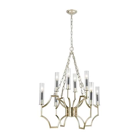 8-Light Clear Crystal Chandelier In Antique Silver Leaf Dark Graphite Finish - Luxe-Glam Style