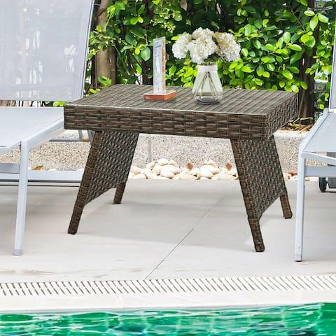 Costway Patio Folding Wicker Side Coffee Table Poolside Garden Lawn Bistro Furniture