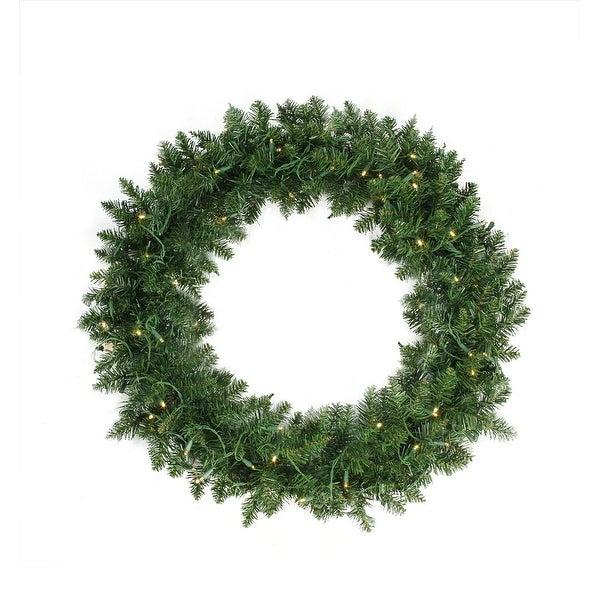 "36"" Pre-Lit Buffalo Fir Artificial Christmas Wreath - Warm White LED Lights"
