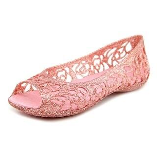 Crocs Isabella Glitter Flat Peep-Toe Canvas Flats