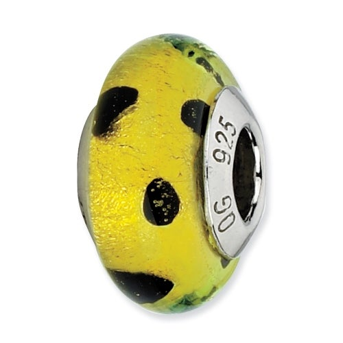 Italian Sterling Silver Reflections Lime Green with Blk Dots Murano Bead