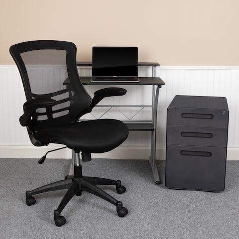 3PC Office Set-Computer Desk, Ergonomic Mesh Office Chair, Filing Cabinet