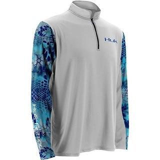 Huk Men's Kryptek Sleeve Icon White Small 1/4 Zip Long Sleeve Shirt
