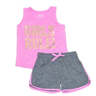 """Little Girls Neon Pink Gold """"Girls Rule!"""" Tank Top 2 Pc Shorts Outfit"""
